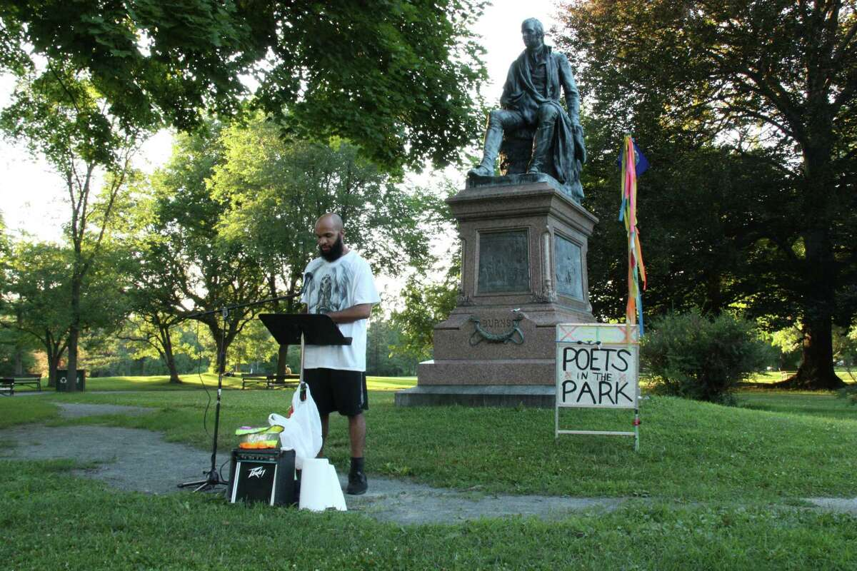 Austin Houston reading at Poets in the Park, Washington Park, Albany, NY, July 25, 2020 - Photo by Dan Wilcox
