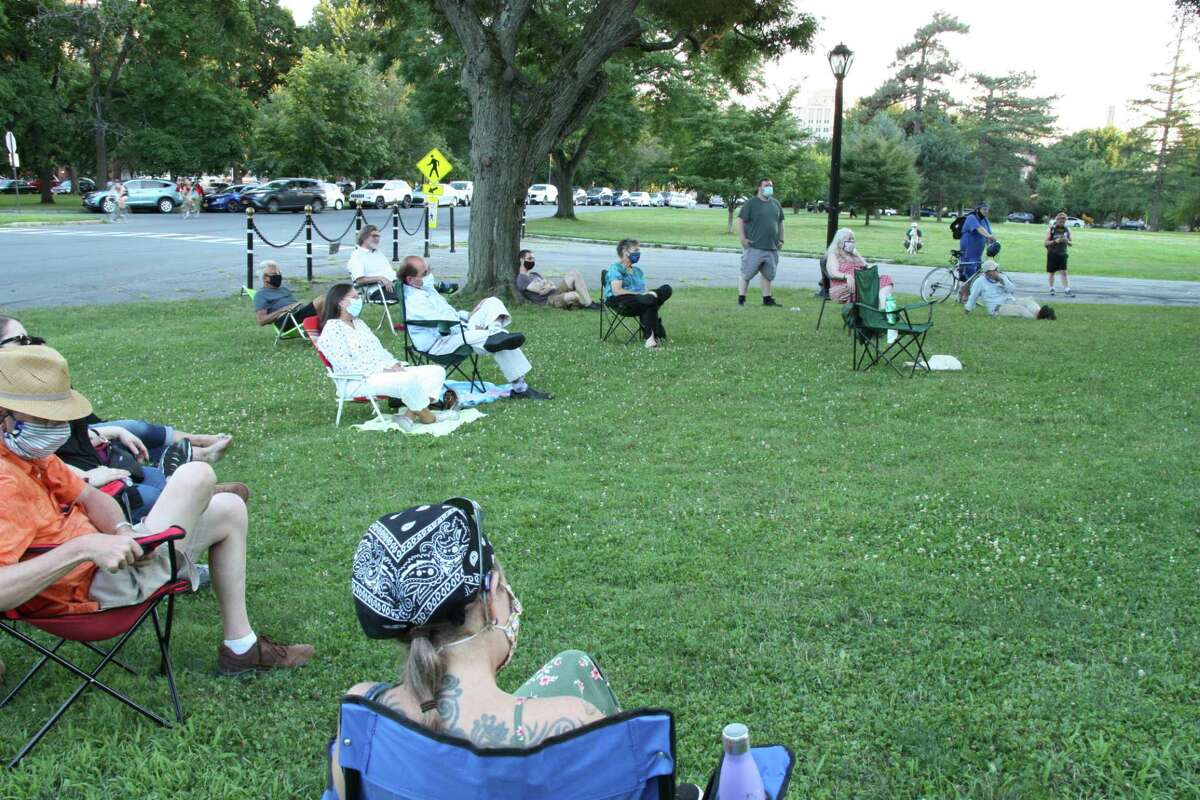Audience social distancing at Poets in the Park, Washington Park, Albany, NY, July 25, 2020 - Photo by Dan Wilcox