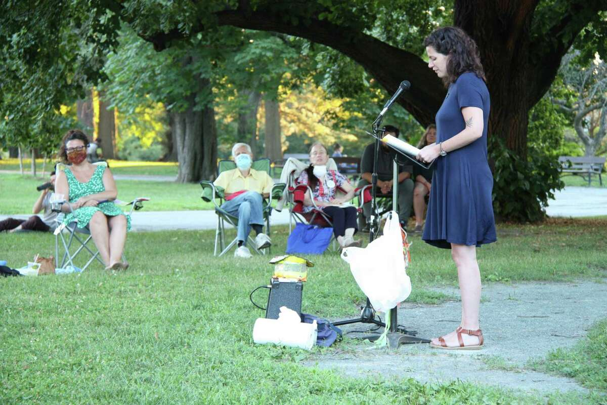 Sarah Giragosian reading at Poets in the Park, Washington Park, Albany, NY, July 25, 2020 - Photo by Dan Wilcox