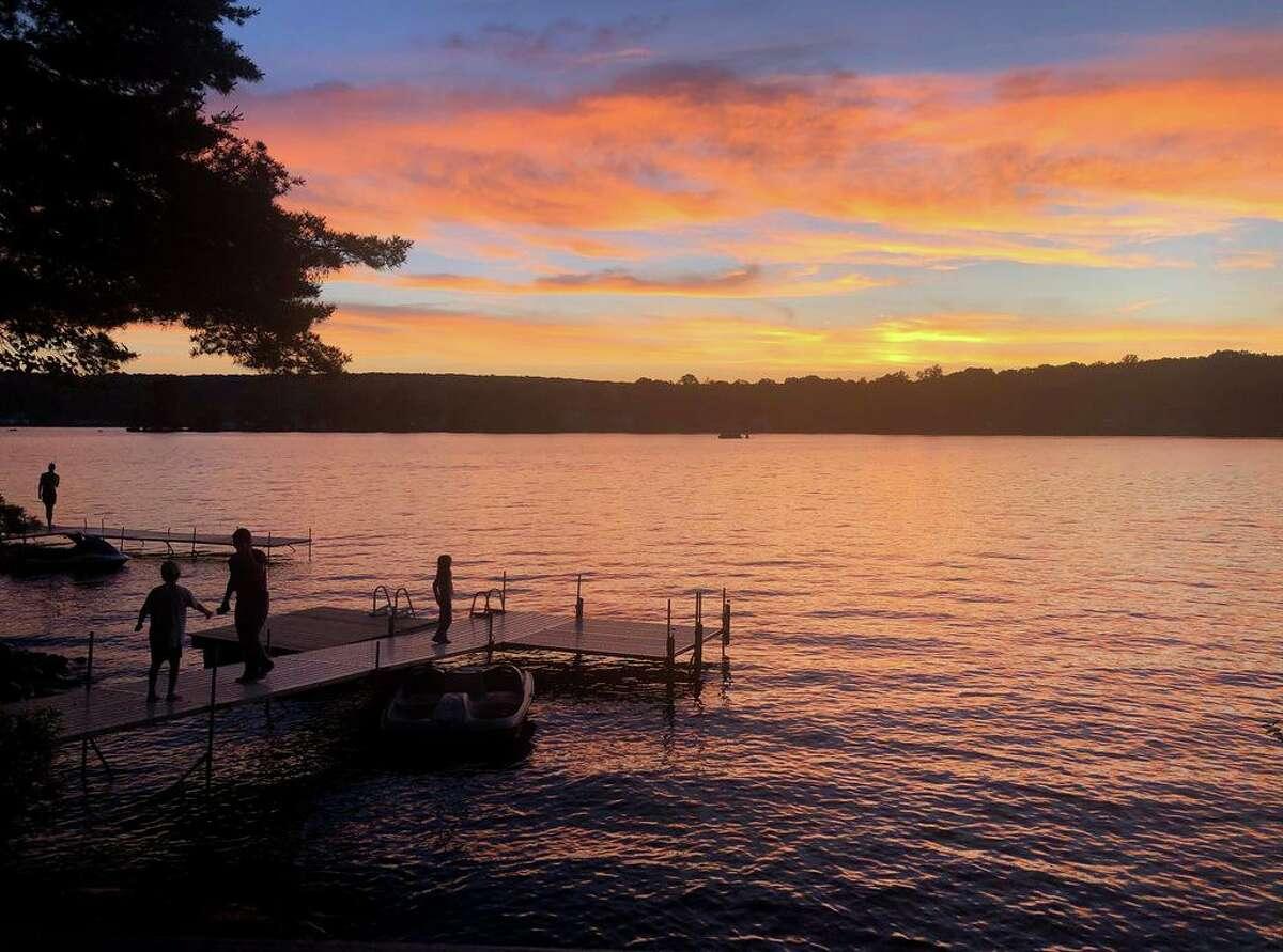 Sunset on Lake Pocotopaug in East Hampton.