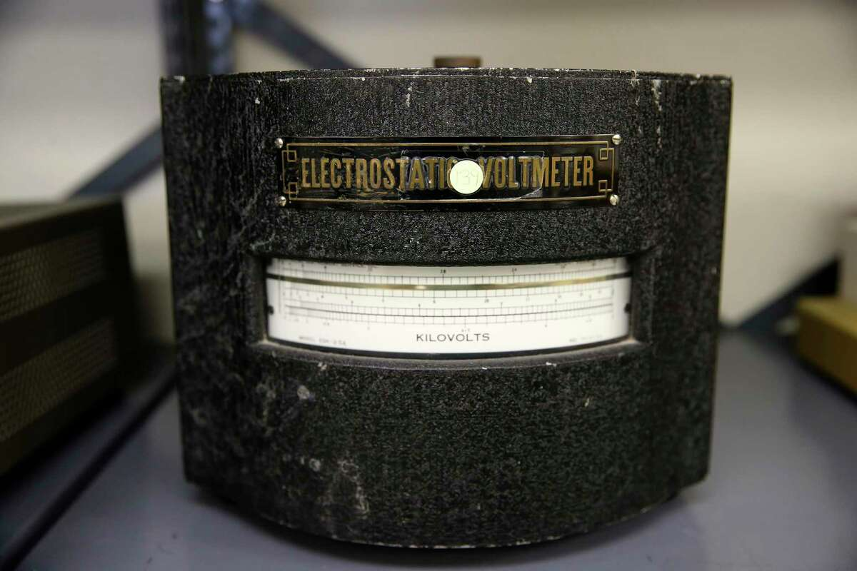 A 1950's voltmeter sits on shelf at Rothe Development, Monday, Aug. 10, 2020. The working meter is capable of measuring up to 25,000 volts.