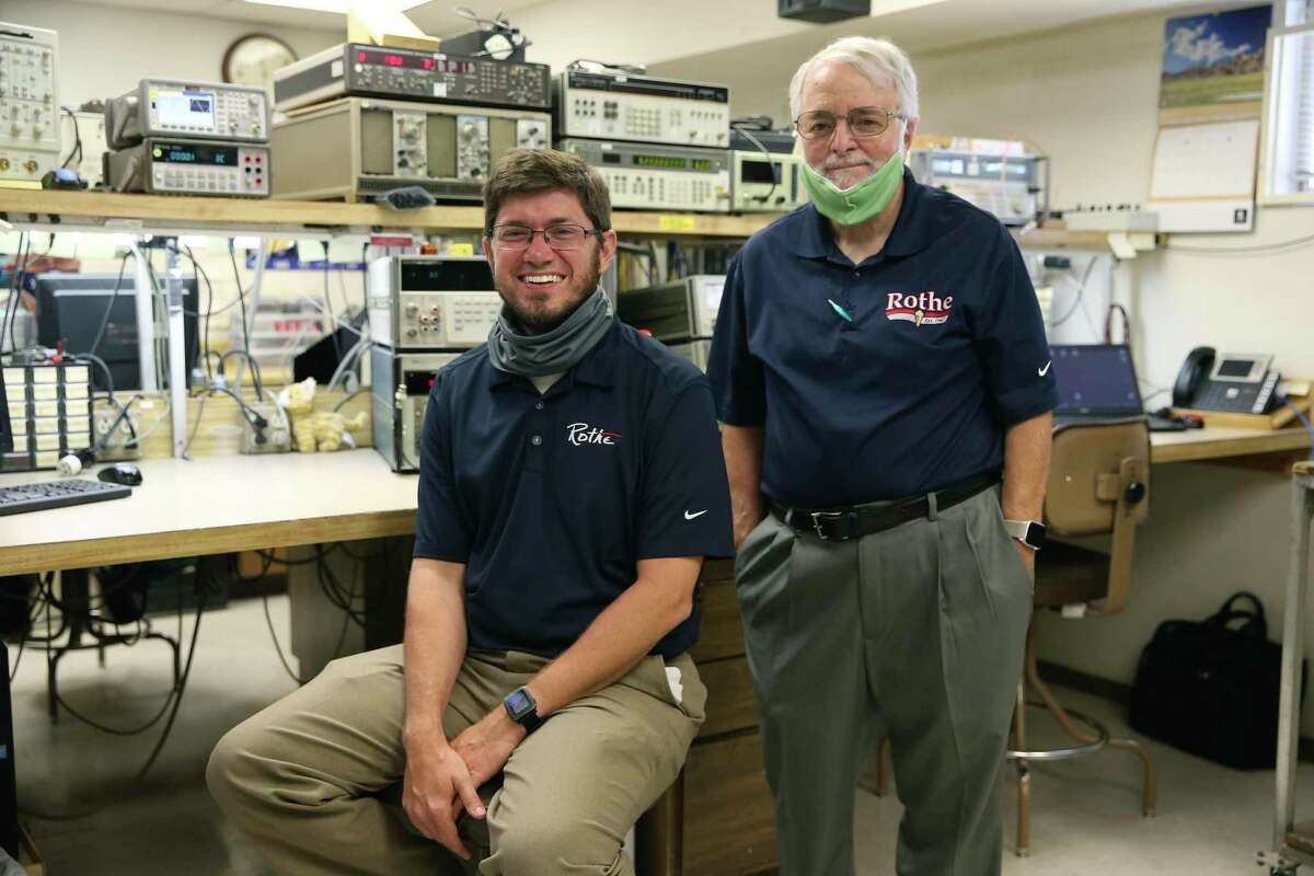 Rothe Enterprises Inc., Vice-President Dale Patenaude, right, and his son, Eric Patenaude, head of Business Development and Cost Proposal Analyst, in the calibration lab, Monday, Aug. 10, 2020. The company has a history of working with NASA.