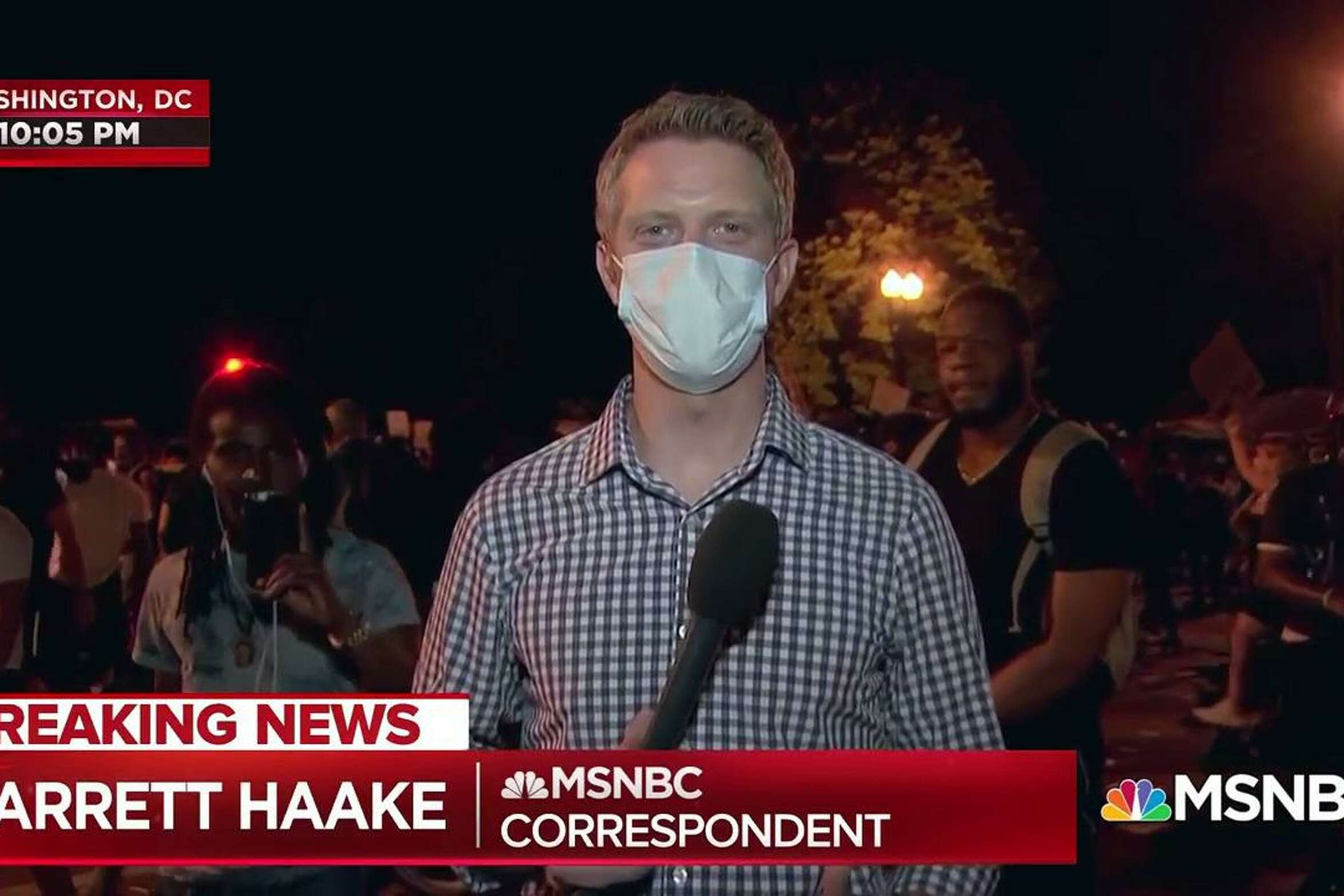 NBC/MSNBC reporter Garrett Haake in Washington D.C. during Black Lives Matter protests