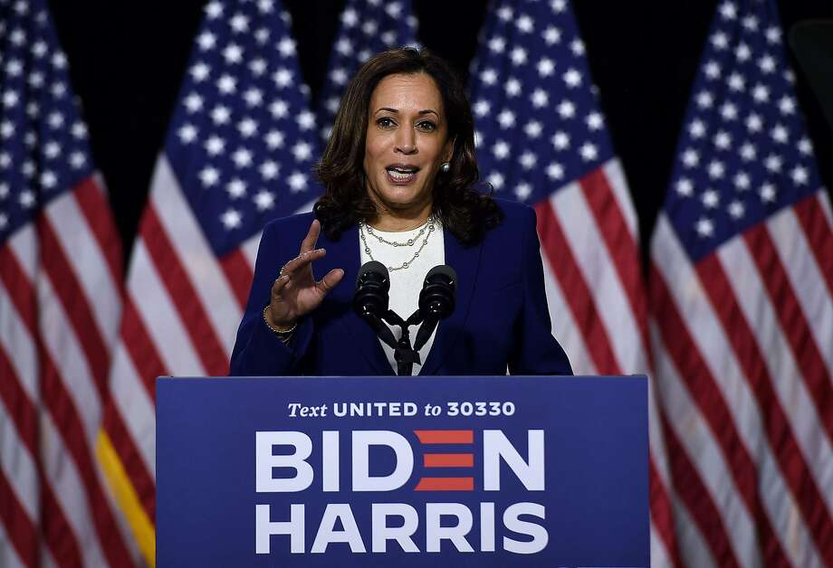The Democratic vice presidential running mate, Sen. Kamala Harris of California, speaks during the first press conference with Joe Biden in Wilmington, Del., on Aug. 12, 2020. Photo: OLIVIER DOULIERY / AFP Via Getty Images