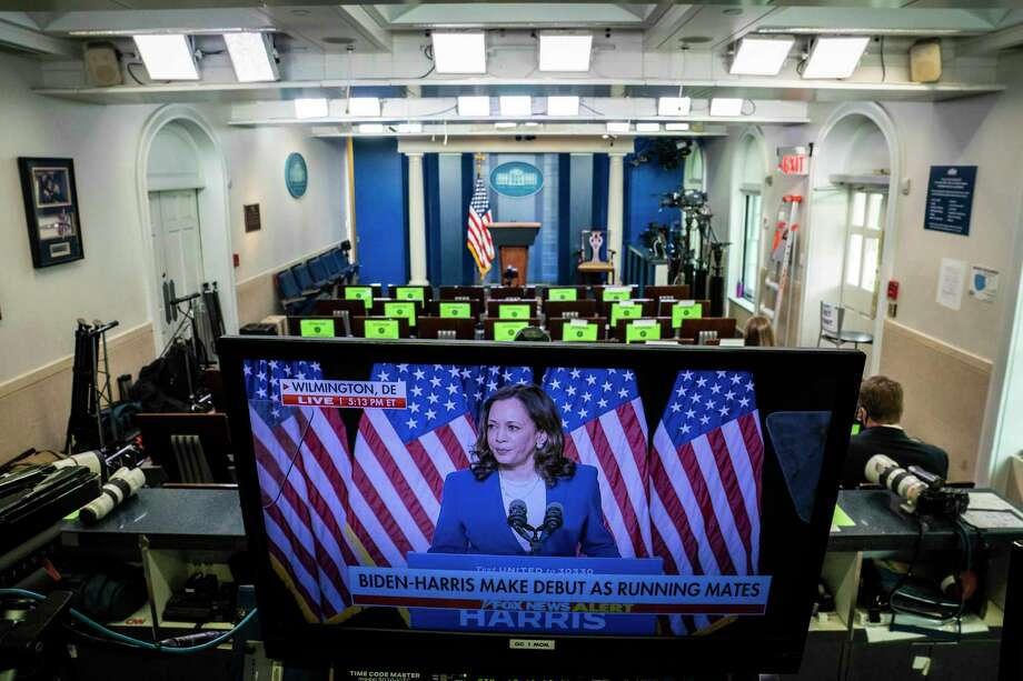 Presumptive Democratic vice presidential nominee Kamala Harris is pictured on a monitor in the White House press briefing room on Wednesday, Aug. 12, 2020. Photo: Washington Post Photo By Jabin Botsford / The Washington Post