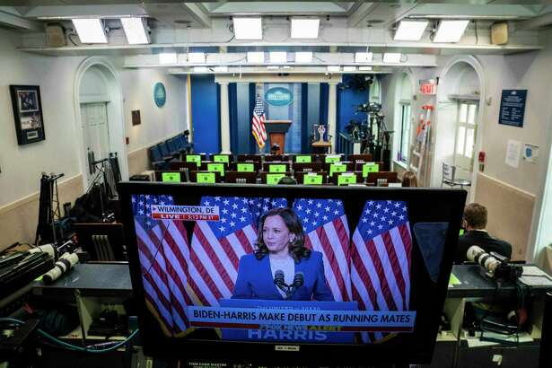 Presumptive Democratic vice presidential nominee Kamala Harris is pictured on a monitor in the White House press briefing room on Wednesday, Aug. 12, 2020.