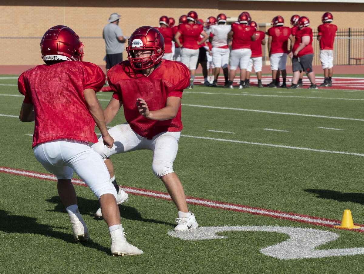 Stanton football players run drills 8/12/2020 during practice. Tim Fischer/Reporter-Telegram