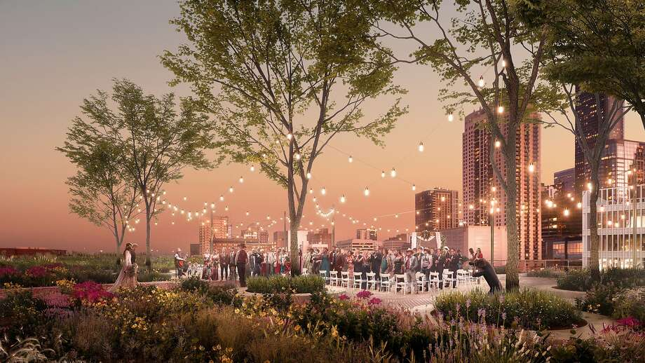 Architectural renderings show the rooftop park, farm and events space being developed atop the former Barbara Jordan Post Office downtown. Photo: Courtesy OfLuxigon
