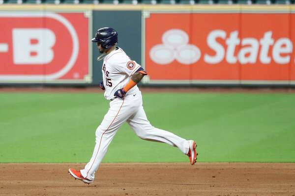 Houston Astros Martin Maldonado runs the bases after his three-run home run during the sixth inning of an MLB baseball game at Minute Maid Park, Wednesday, August 12, 2020, in Houston.