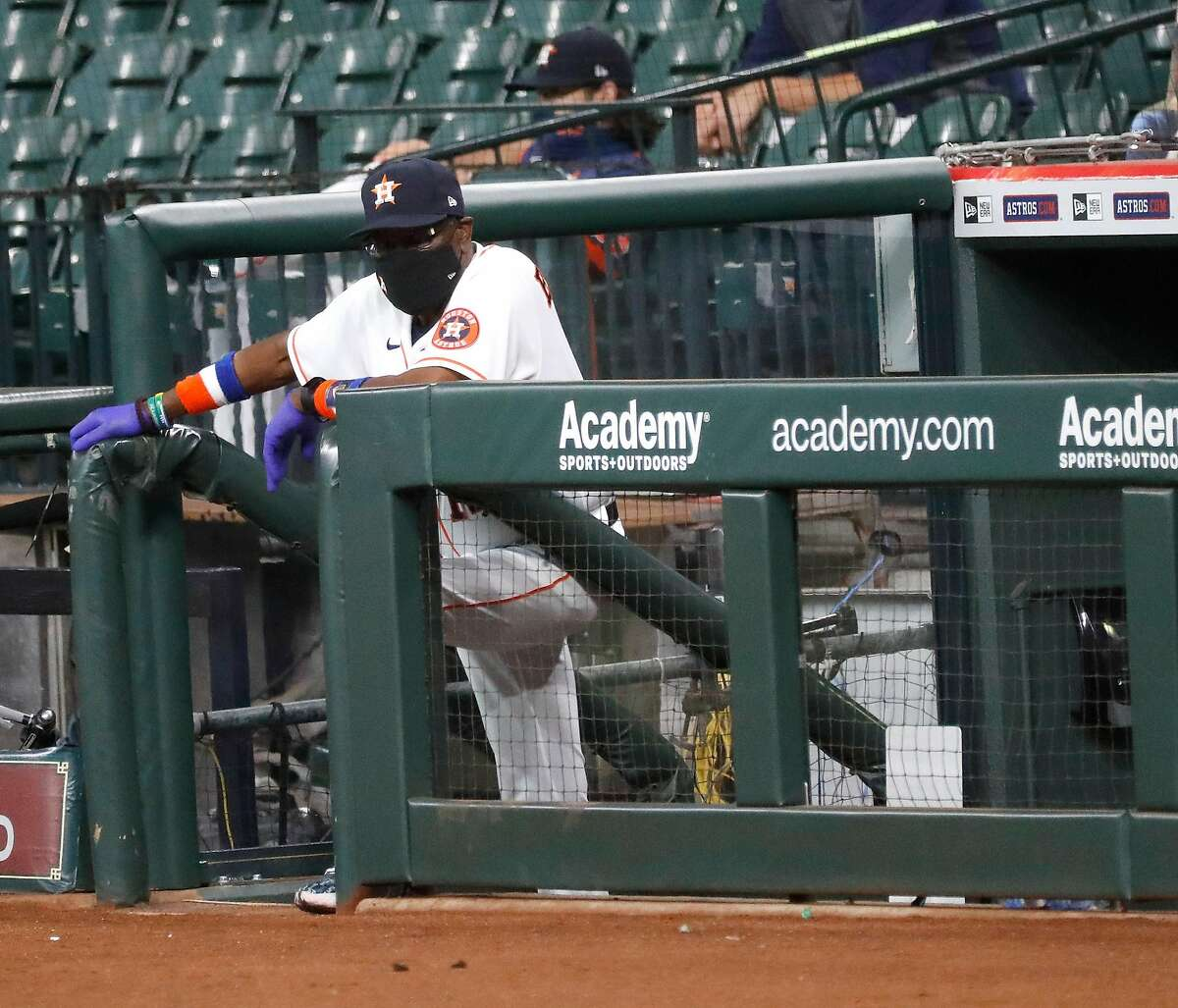 Houston Astros manager Dusty Baker at the end of the dugout during the third inning of an MLB baseball game at Minute Maid Park, Wednesday, August 12, 2020, in Houston.