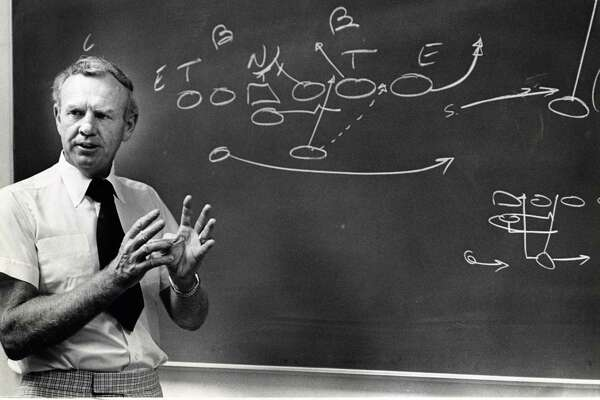 In this 1974 photo, UH football coach Bill Yeoman provides a demonstration of his veer offense and its three options.
