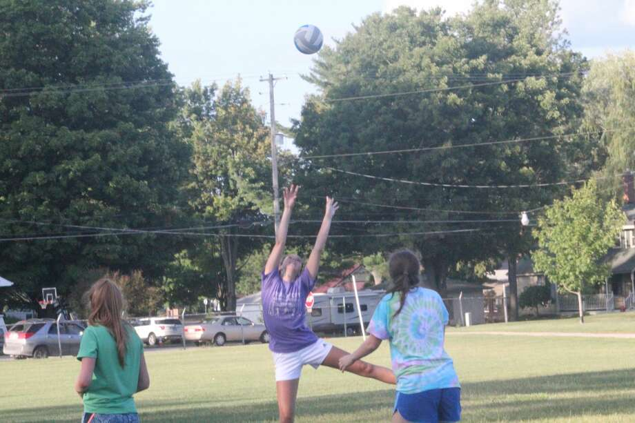 It was the first day of volleyball practice for Reed City on Wednesday. But because of COVID 19, it had to be outdoors. Photo: John Raffel