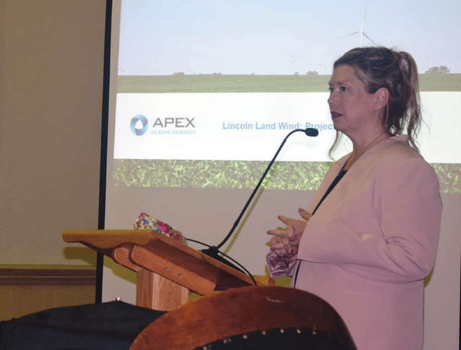 Holly McCoy-Nelson, a senior development manager for Apex Clean Energy, speaks Tuesday during a public hearing on the company's proposed wind project in Morgan County. Photo: Samantha McDaniel-Ogletree | Journal-Courier