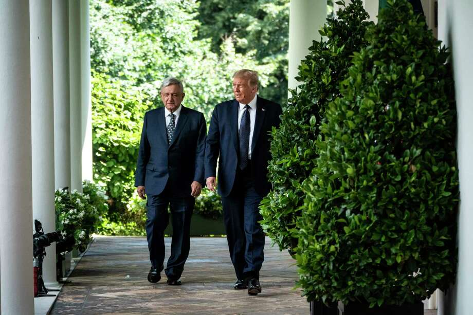 President Trump and Mexican President Andrés Manuel López Obrador arrive to sign a joint declaration on the U.S.-Mexico-Canada agreement last month at the White House. Photo: Washington Post Photo By Jabin Botsford. / The Washington Post