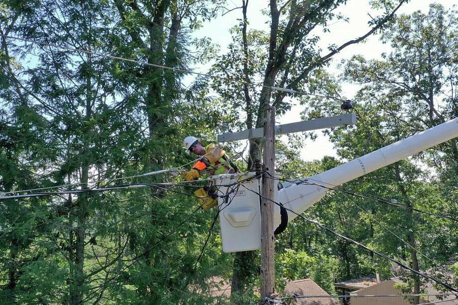 "Ten days after after Tropical Storm Isaias tore through Connecticut, hundreds of Eversource customers remain without power on Thursday, Aug. 13, 2020. Eversource said the remaining outages are ""more complex and take additional time to complete."" Photo: Eversource Photo"