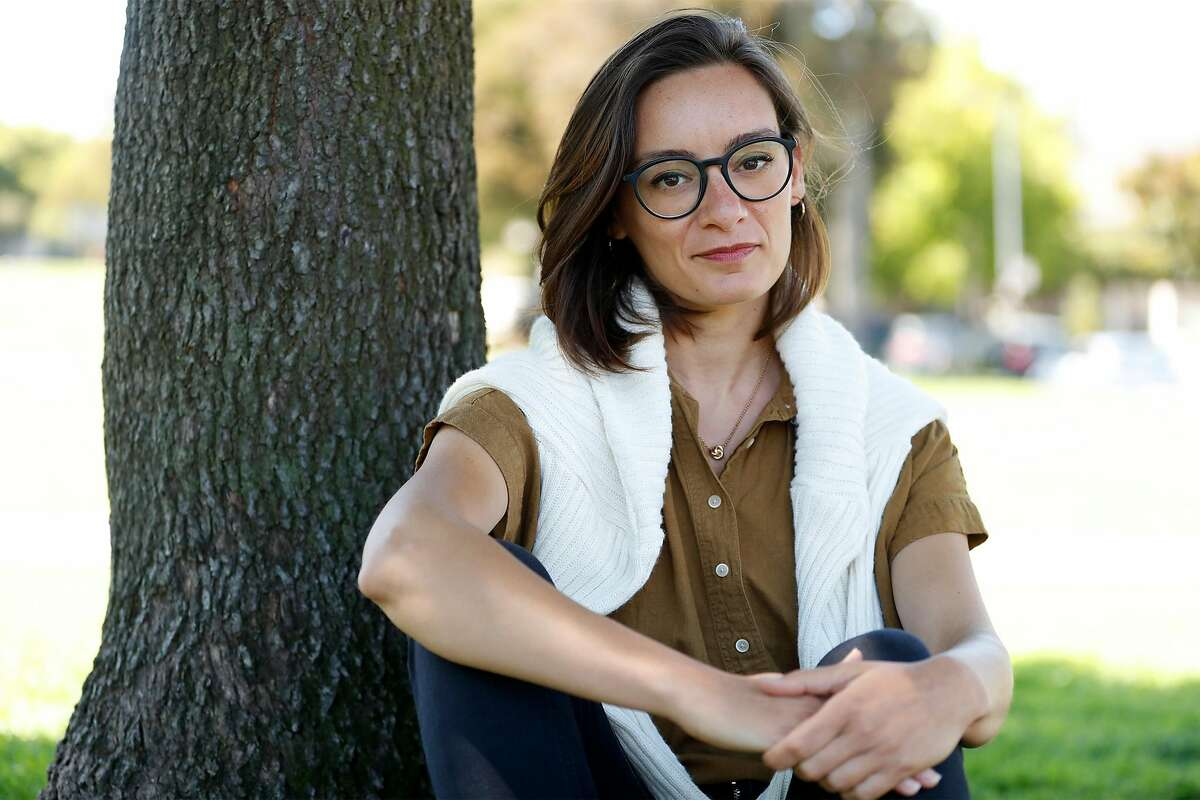 Veronica Ronchi at Precita Park in San Francisco, Calif., on Wednesday, August 12, 2020. Ronchi, a new US citizen, worked in the food service and has been out of work since May, but has not yet received any money from EDD.