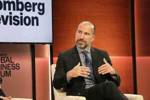 Dara Khosrowshahi, chief executive officer of Uber Technologies, speaks during the Bloomberg Global Business Forum in New York on Sept. 25, 2019.