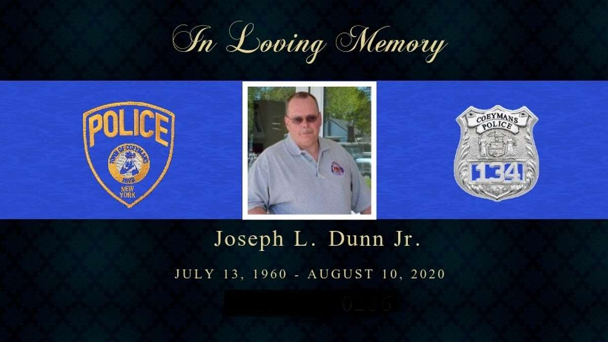 The Coeymans Police Department posted this memorial picture on its Facebook age honoring Joseph L. Dunn, Jr., an officer who died Aug. 10, 2020 after his house caught on fire Aug. 2, 2020 in Rotterdam.