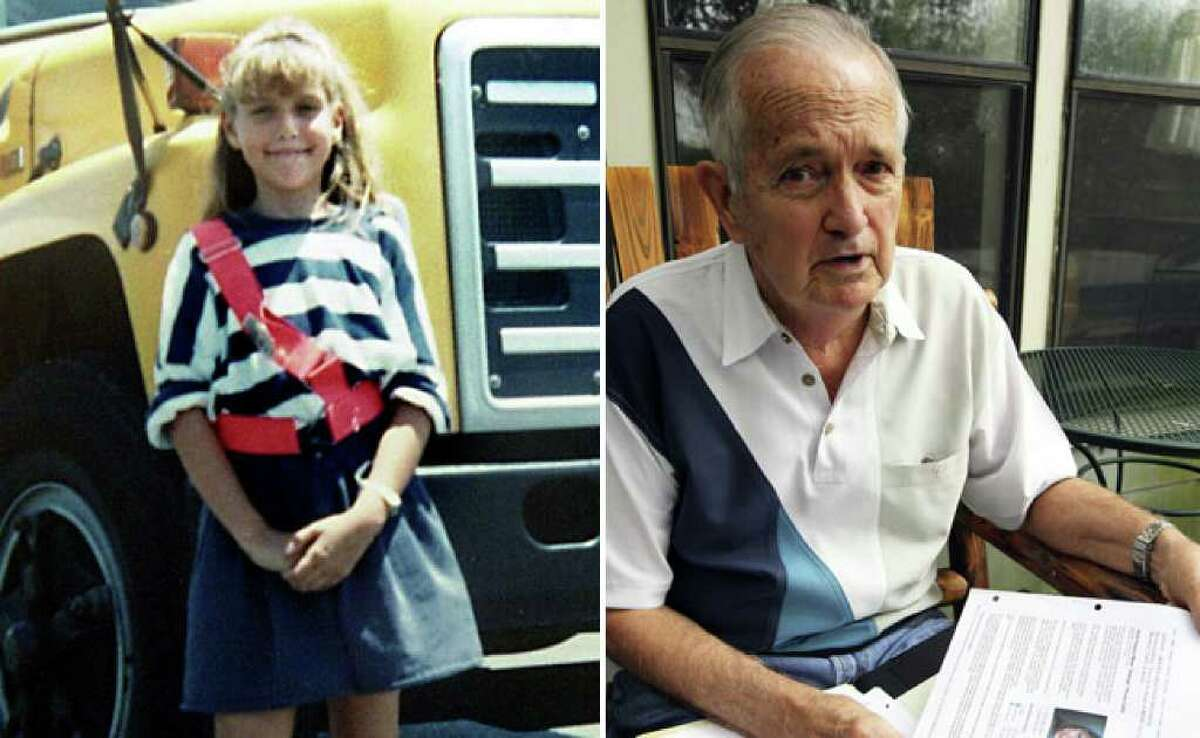 """Left: Heidi Seeman at age 11 on her last day of school in 1990 the same year she was killed. (Express-News file photo) Right: """"The day I give up on this case is the day I'm not worth anything,"""" says retired Hays County Sheriff Paul Hastings, who has been part of the Heidi Seeman murder investigation for two decades. (Tom Reel/Express-News)"""