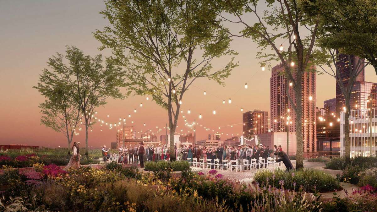 Architectural renderings show the rooftop park, farm and events space being developed atop the former Barbara Jordan Post Office downtown.