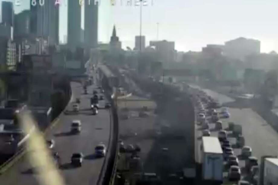 Eastbound I-80 is jammed on Thursday morning due to a crash on the lower deck of the Bay Bridge. Photo: Caltrans