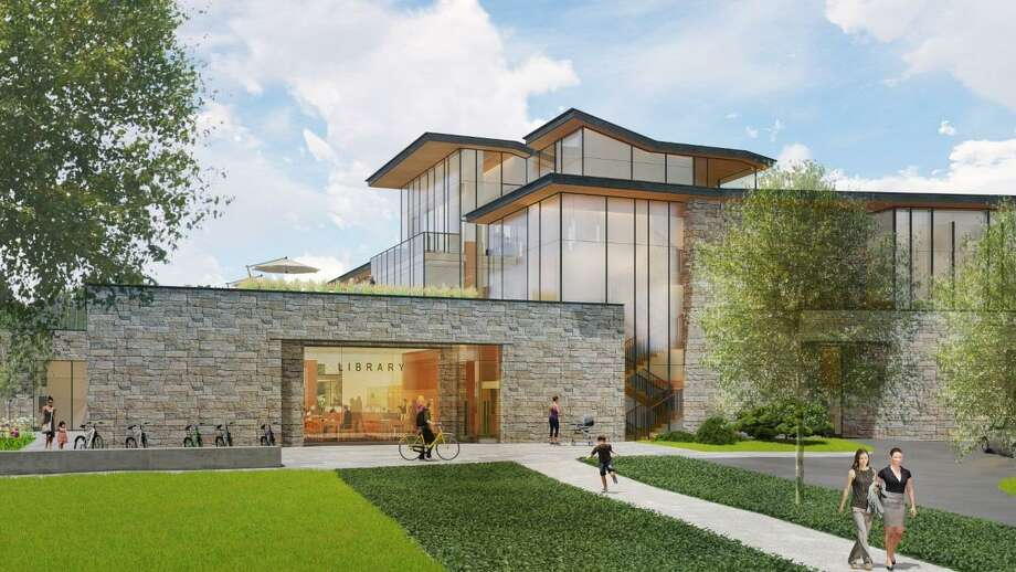 The new New Canaan Library depicted in a rendering from Centerbrook Architects, pays homage to mid-century modern design. Photo: New Canaan Library / Contributed Photo