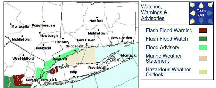 The National Weather Service has issued a Flood Advisory for southern Fairfield County until 1:45 p.m. on Thursday, Aug. 13, 2020. Photo: NWS Graphic