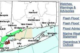 The National Weather Service has issued a Flood Advisory for southern Fairfield County until 1:45 p.m. on Thursday, Aug. 13, 2020.