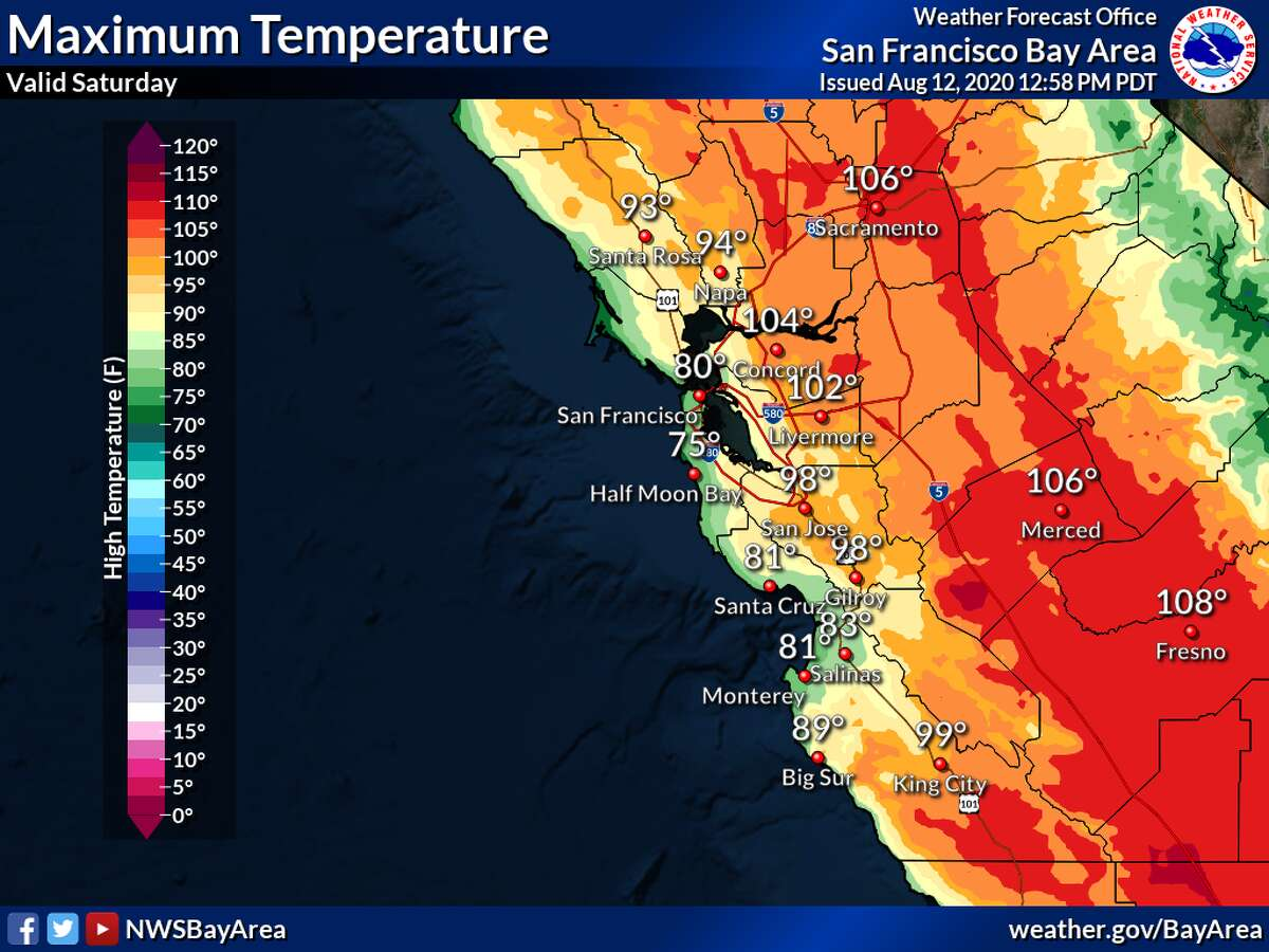 The forecast high temperatures for the Bay Area this Saturday.