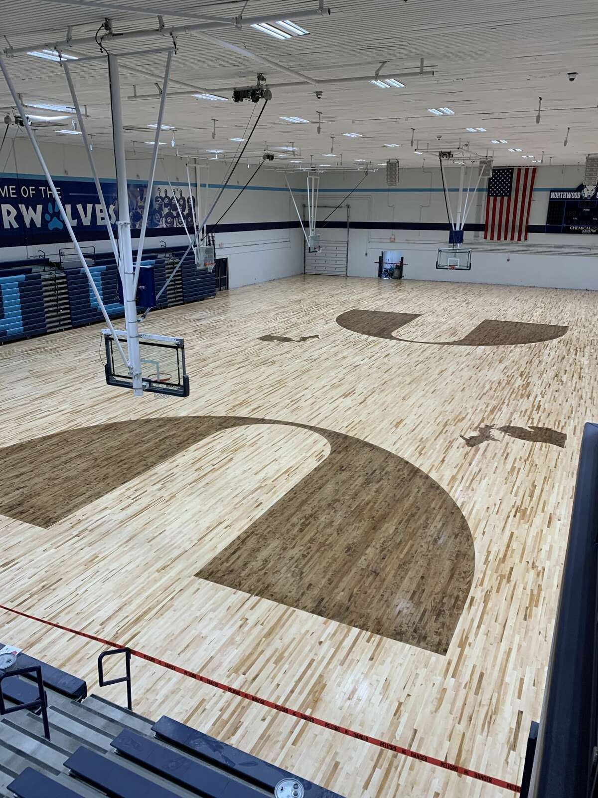 Northwood's new gym floor in the Bennett Center is seen from the upper annex of Riepma Arena on Aug. 12, 2020.