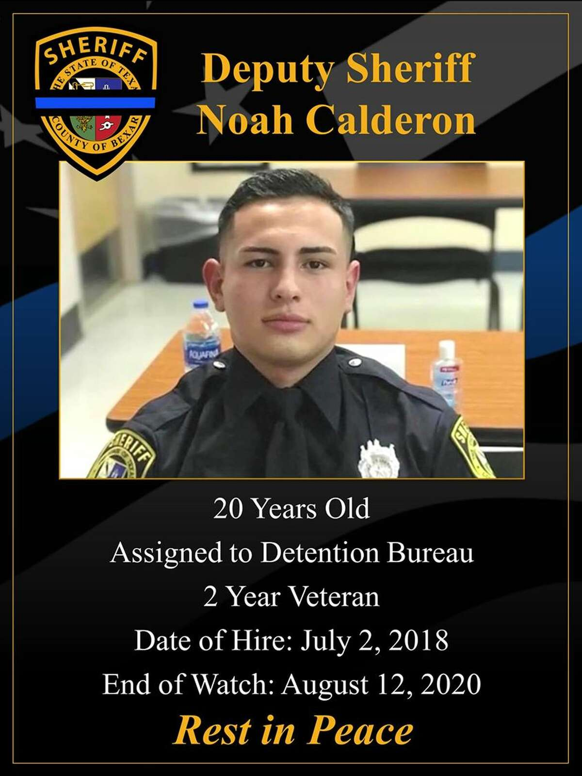 Noah Calderon, the youngest deputy to be hired by Bexar County Sheriff's Office died after his vehicle was hit by an 18-wheeler Wednesday morning in San Patricio County.