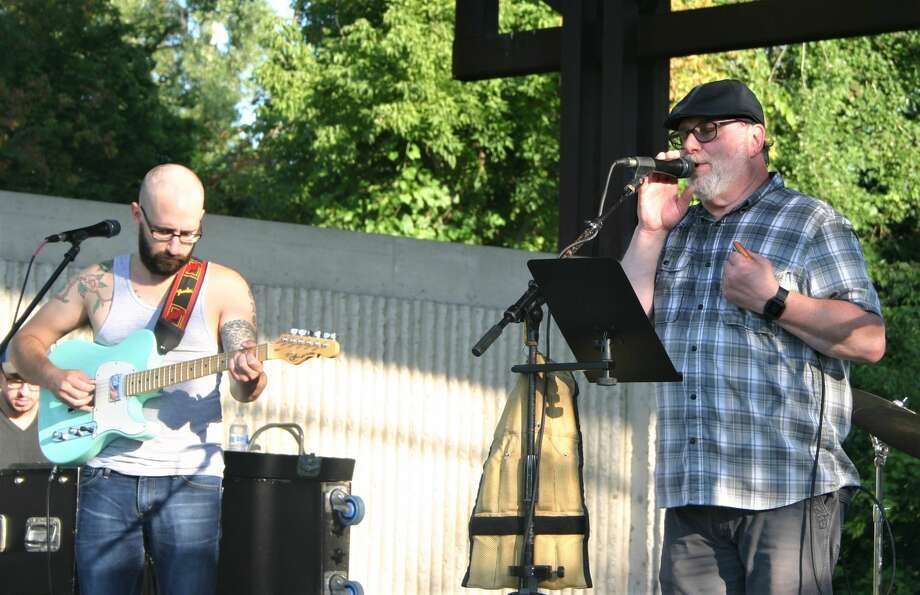 Crook Root Band wrapped up teh Big Rapids parks and recreation summer concert series with a performance of bluesy rock and roll at the Bandshell at Hemlock Park on Wednesday, Aug. 12. Photo: Pioneer Photo/Cathie Crew