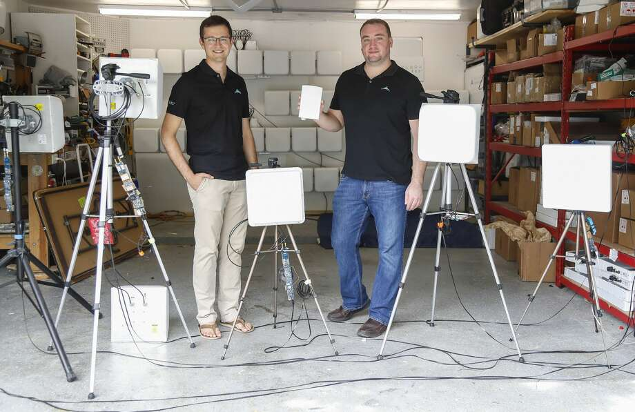 Startup Skylark Wireless CEO Ryan Guerra and CTO Clayton Shepard have an office in a townhouse in the Montrose where they build prototype antennas for this in their garage. Photo: Karen Warren/Staff Photographer / © 2020 Houston Chronicle