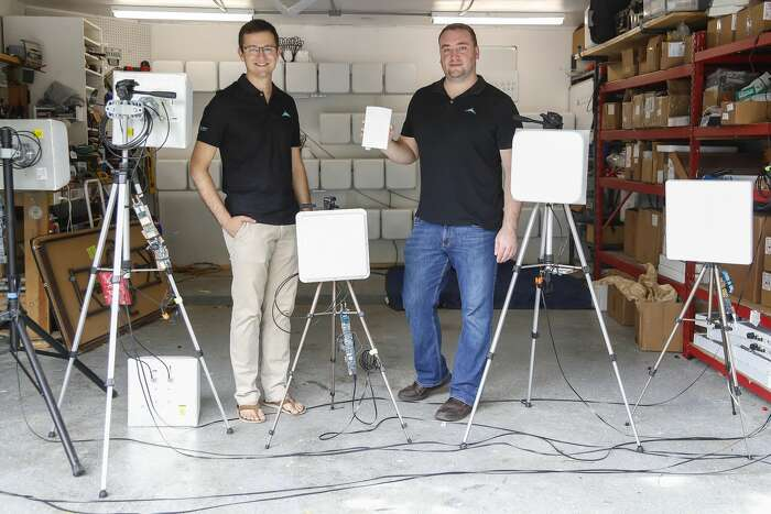Startup Skylark Wireless CEO Ryan Guerra and CTO Clayton Shepard have an office in a townhouse in the Montrose where they build prototype antennas for this in their garage.