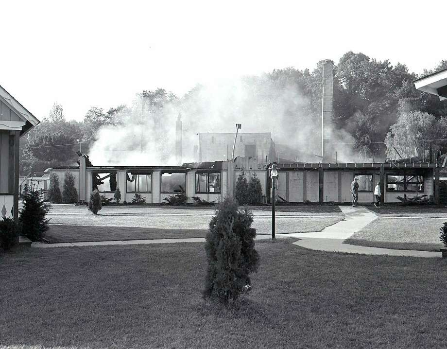 The Buccaneer Inn, formerly located in Onekama, was destroyed by fire in September 1971. (Manistee County Historical Museum photo)