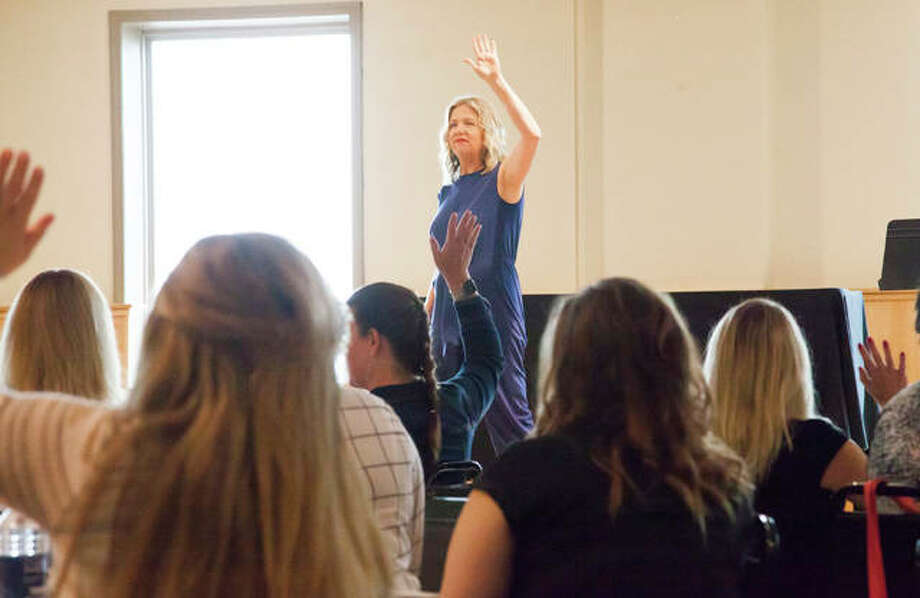 Stacy Rorie, public speaker and blogger, motivates an audience of more than 200 women during last year's LeadHERship Seminar hosted by the Riverbend Growth Association.