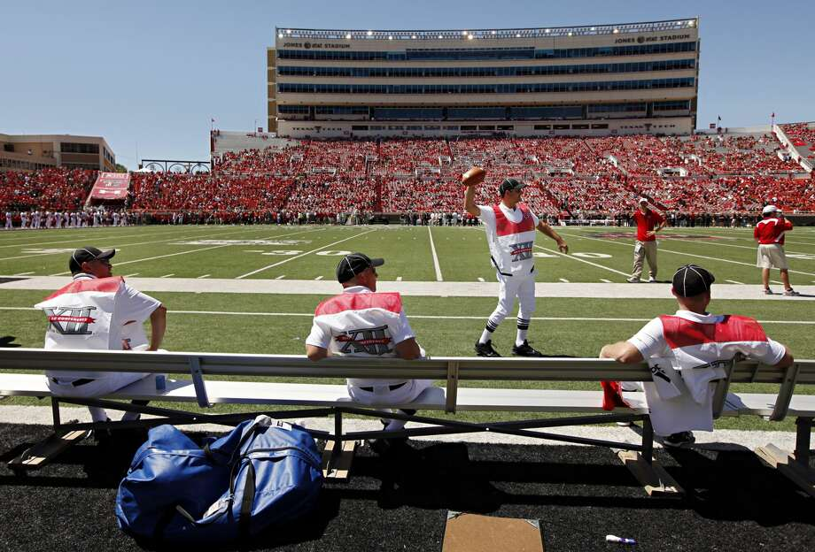 Game officials wait for the start of Texas Tech's 35-27 win over Southern Methodist Sunday, September 5, 2010 at Jones AT&T Stadium in Lubbock, Texas. (G.J. McCarthy/The Dallas Morning News) Photo: G.J. McCARTHY/Staff Photographer / The Dallas Morning News