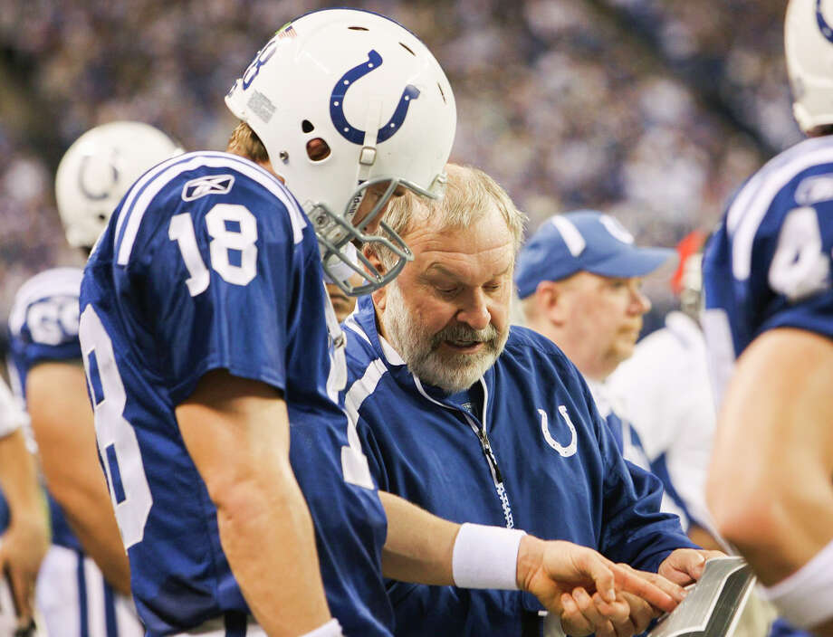 Indianapolis Colts' offensive line coach Howard Mudd talks with quarterback Peyton Manning during a Dec. 27, 2009 game against the New York Jets. (Daily News file) Photo: (Daily News File)