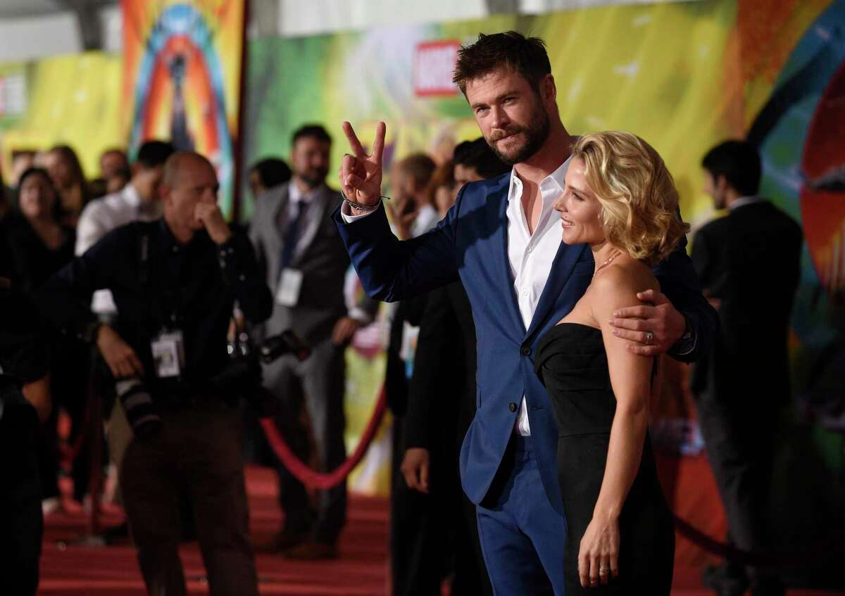 """THOR FILM: Chris Hemsworth, left, and Elsa Pataky arrive at the world premiere of """"Thor: Ragnarok"""" at the El Capitan Theatre in 2017. The film will be screened Aug. 22 at The Kate in Old Saybrook."""