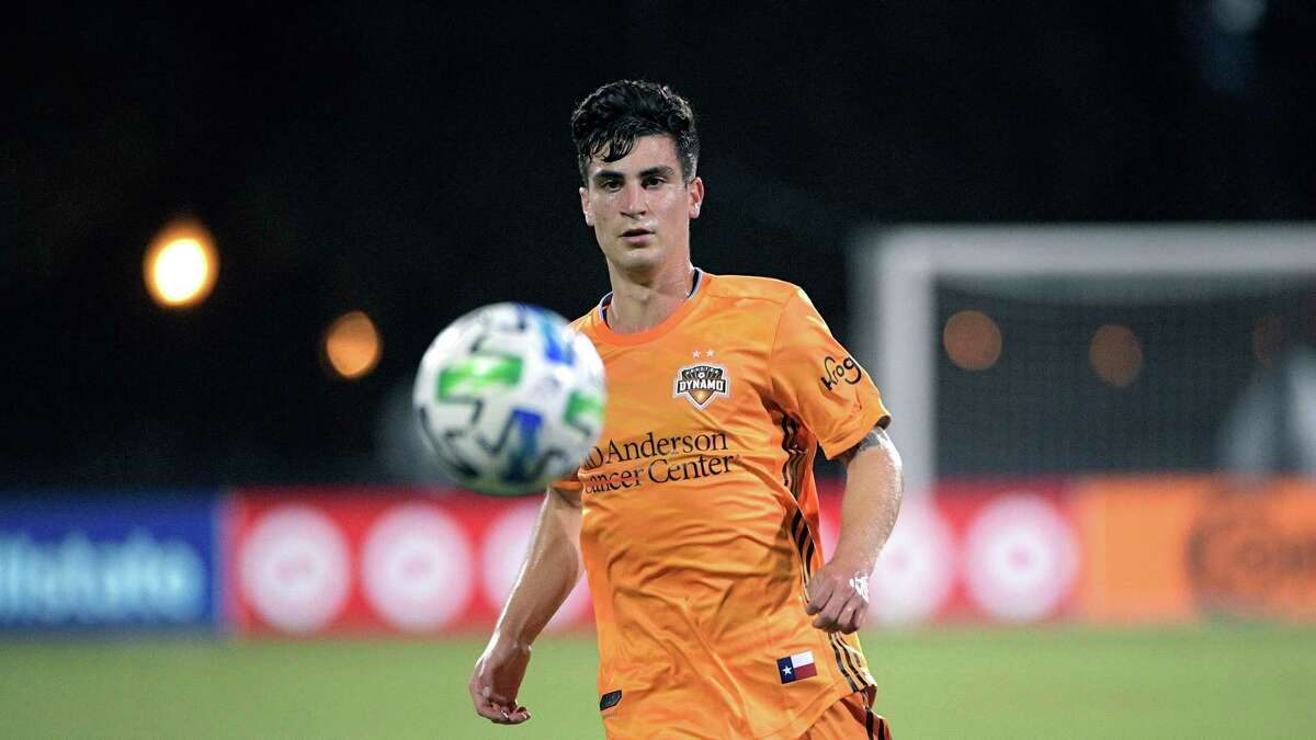 Dynamo midfielder Nico Lemoine tracks down a ball against LA FC in the MLS is Back Tournament.