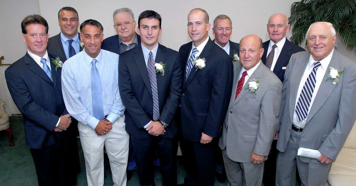 The West Haven Twilight League held their annual awards dinner in 2007. Pictured, from left to right, Thomas 'Tinker' Blake, West Haven Mayor John Picard, Sal Coppola, Edward Giannotti, Chip Malafronte, Al Carbone, George Collins, Vin DiLauro, Harry Noyes and Bob Greenwood are photographed at the 2007 West Haven Twilight League Awards banquet at the West Haven Italian American Club.