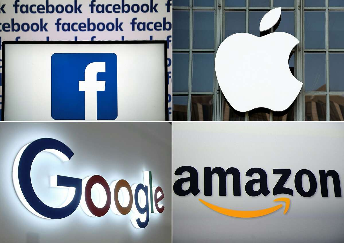 (FILES) In this file photo taken on July 10, 2019 (COMBO) This combination of pictures created on July 10, 2019 shows a Facebook logo on July 4, 2019 in Nantes, an Apple logo in San Francisco on September 7, 2016, a Google logo in China's Chongqing on August 23, 2018, and an Amazon logo in New York on September 28, 2011. - Apple on July 30, 2020, reported higher profits in the past quarter, with strong gains in sales of wearables, accessories and services amid a global pandemic. Amazon on Thursday reported that its profit in the recently ended quarter doubled as sales soared during the pandemic. Google parent Alphabet reported a rare drop in revenue and profit on Thursday in a quarterly update that nonetheless topped market expectations. Facebook reported Thursday that its quarterly profit had nearly doubled and users grew despite a boycott by advertisers. (Photos by AFP) / - China OUT (Photo by LOIC VENANCE,JOSH EDELSON,STR,EMMANUEL DUNAND/AFP via Getty Images)