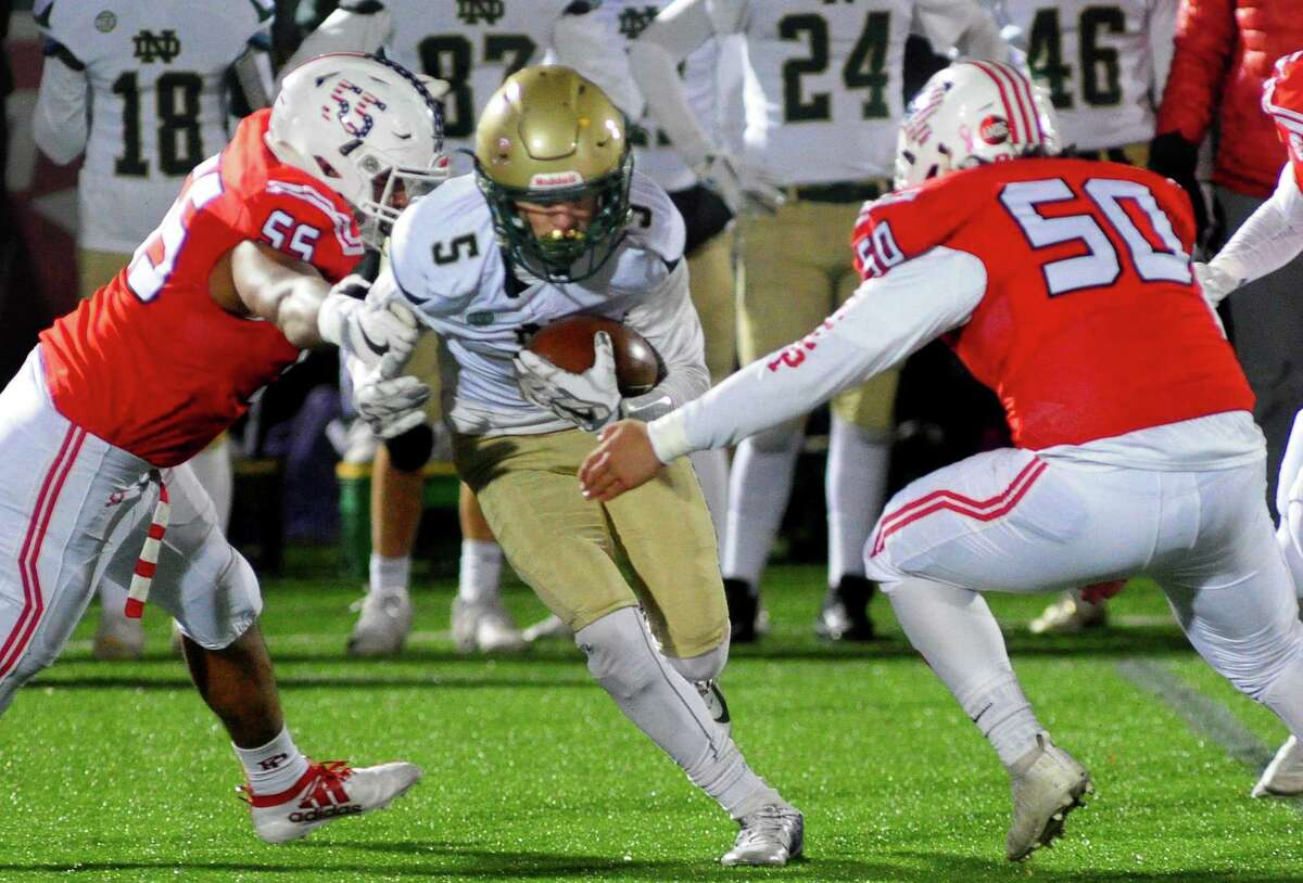High school football action between Fairfield Prep and Notre Dame of West Haven in Fairfield, Conn., on Friday Nov. 8, 2019.