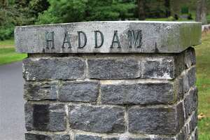 A stone column at Field Park marks the road that leads to Haddam Town Hall.