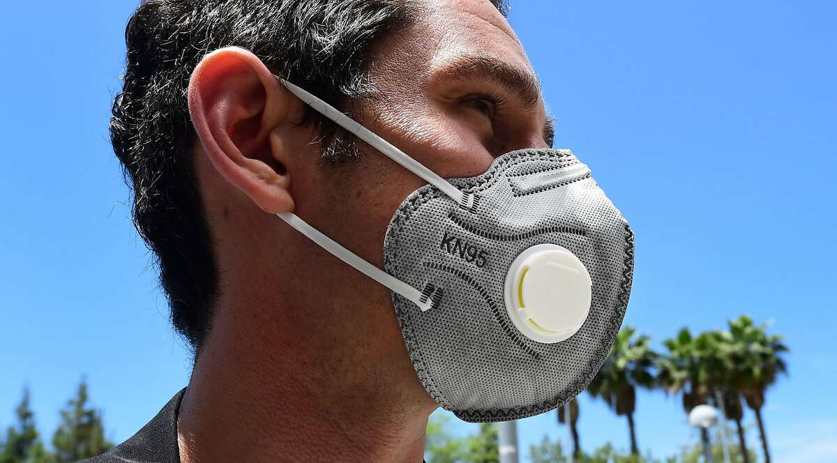 An N95 mask with an exhaust vent is seen in this May 14, 2020, photo at the LAC+USC Medical Center in Los Angeles.