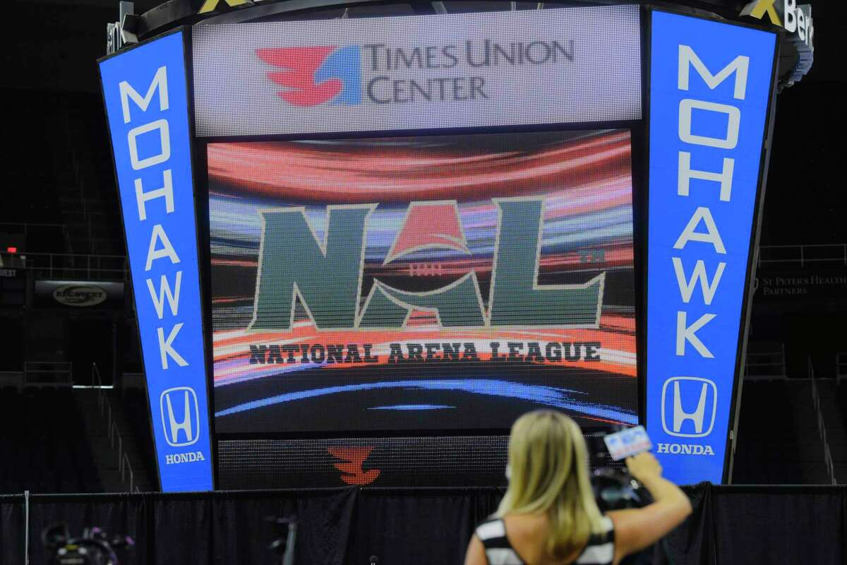Times Union officials along with officials from the National Arena League announced that a franchise has been awarded to Albany during a press conference at the Times Union Center on Thursday, Aug. 13, 2020, in Albany, N.Y. (Paul Buckowski/Times Union)