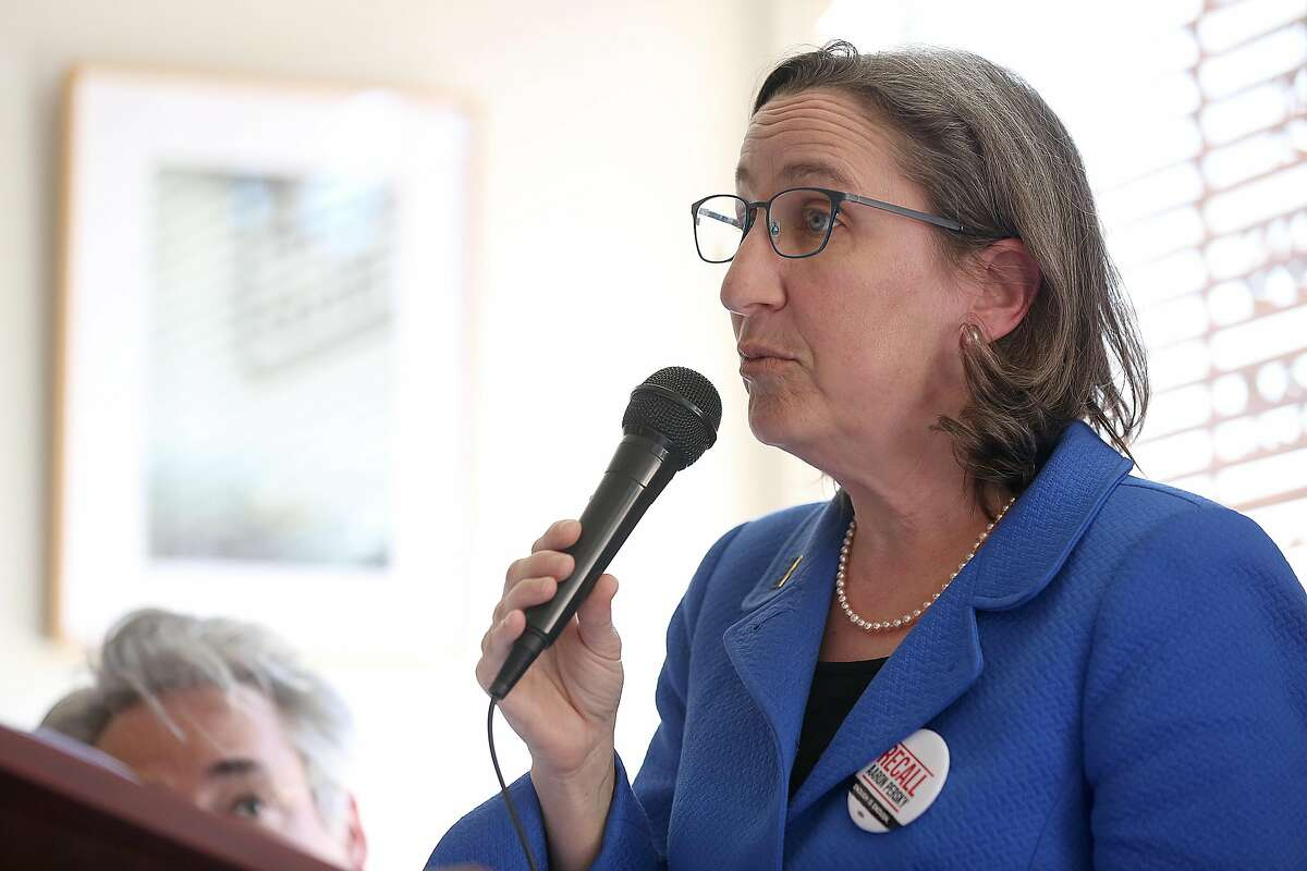 Stanford professor Michele Landis Dauber speaks about the recall of Judge Aaron Persky at Hayes Valley Grill on Friday, April 20, 2018, in San Francisco, Calif.