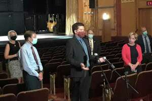U.S. Sen. Richard Blumenthal, second from left, visited the Warner Theatre in Torrington Thursday to discuss proposed funding for arts and entertainment venues and to hear how closure amid the coronavirus pandemic is affecting the venues and municipalities. At center is Warner Theatre Executive Director Rufus de Rahm.