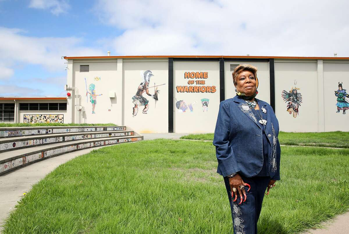 Sharon Kidd poses for a portrait at McClymonds High School on Tuesday, August 11, 2020, in Oakland, Calif. Kidd, a Berkeley resident backed by the BART police officers association, is trying to unseat Board President Lateefah Simon this November. Simon is an outspoken social justice advocate who has pressed BART to shift funds away from the police and to hire Wanda Johnson, the mother of Oscar Grant, to train police officers.