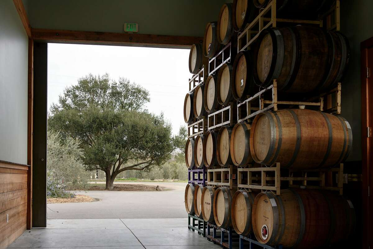 Barrels sit in the doorway of the main building at DaVero Farms & Winery in Healdsburg, Calif., on Sunday March 18, 2018.